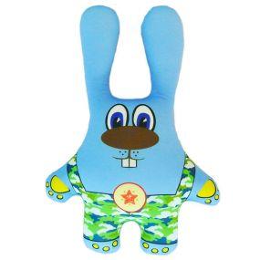 Игрушка Заяц в камуфляже синий