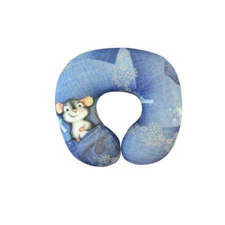 Подушка под шею Игрушка Джинсовый Мышь 01